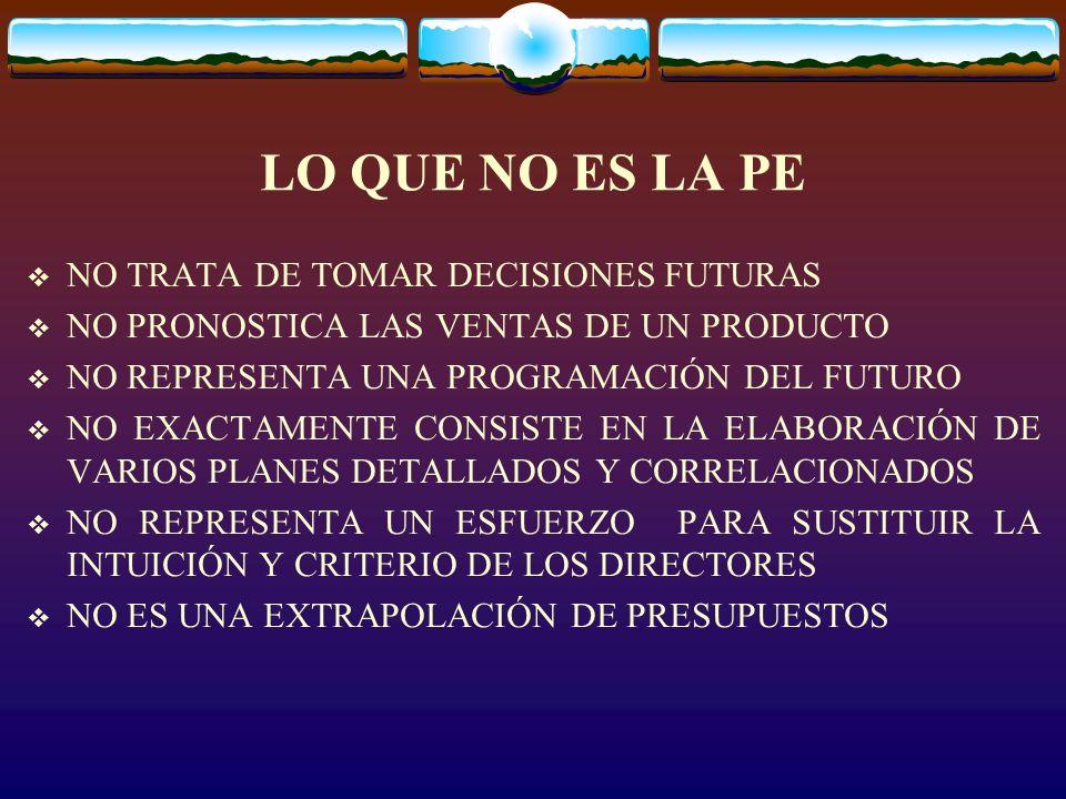 LO QUE NO ES LA PE NO TRATA DE TOMAR DECISIONES FUTURAS