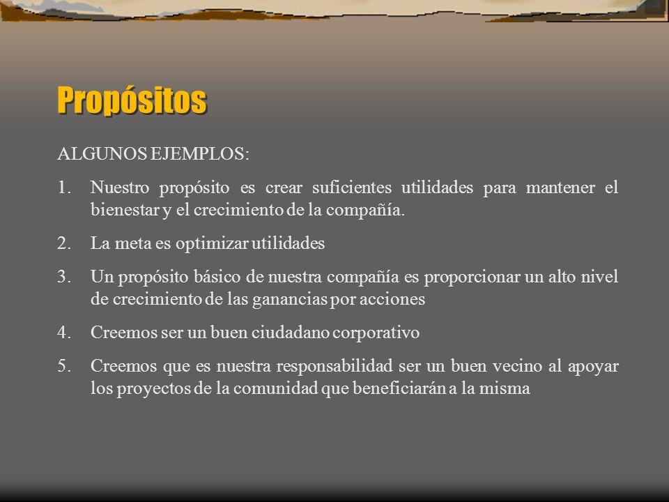 Propósitos ALGUNOS EJEMPLOS: