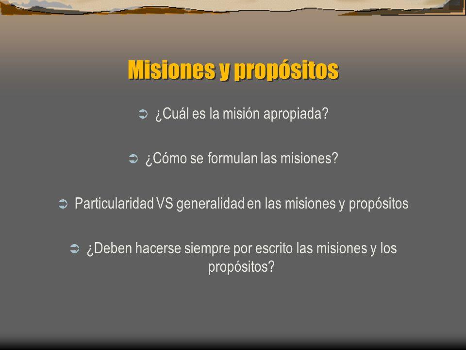 Misiones y propósitos ¿Cuál es la misión apropiada