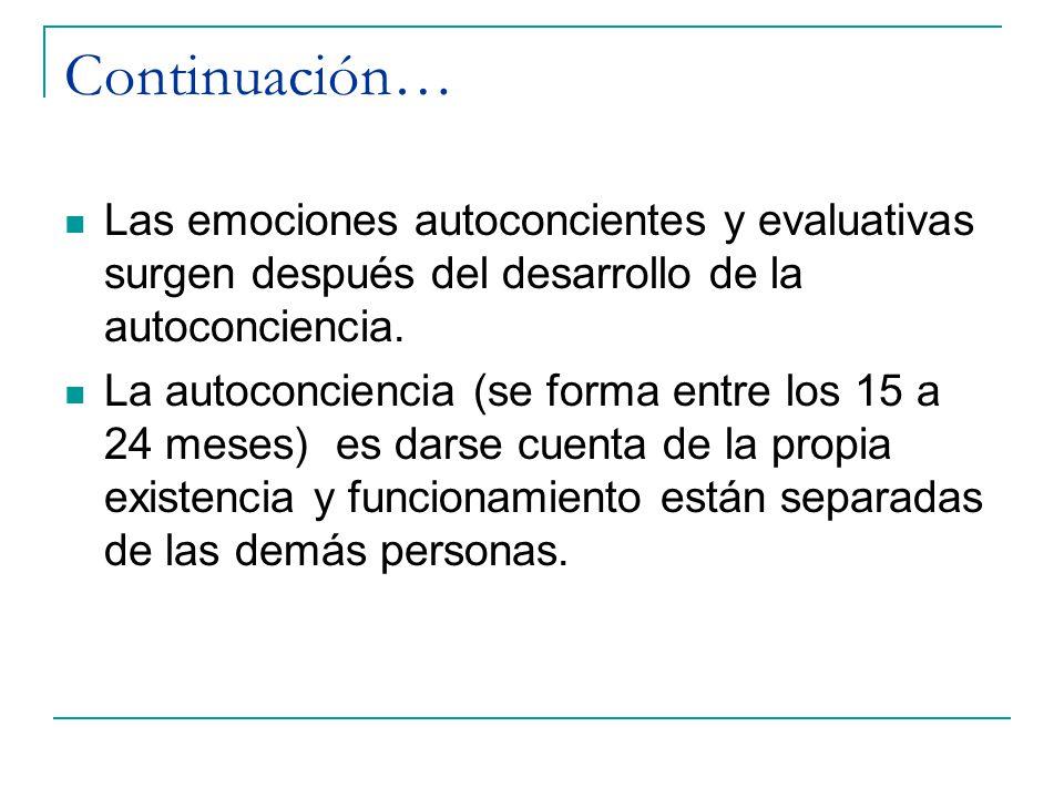 Continuación… Las emociones autoconcientes y evaluativas surgen después del desarrollo de la autoconciencia.