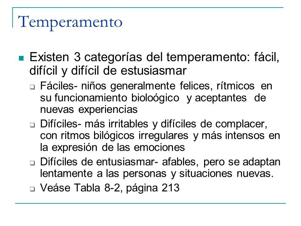 Temperamento Existen 3 categorías del temperamento: fácil, difícil y difícil de estusiasmar.