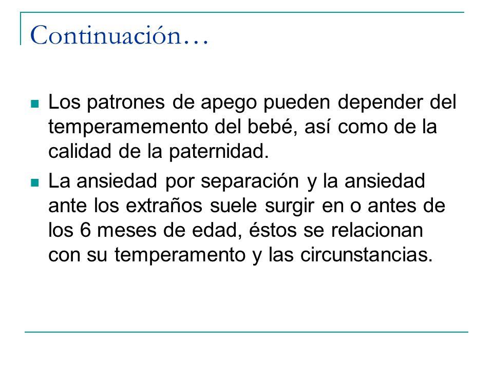 Continuación… Los patrones de apego pueden depender del temperamemento del bebé, así como de la calidad de la paternidad.