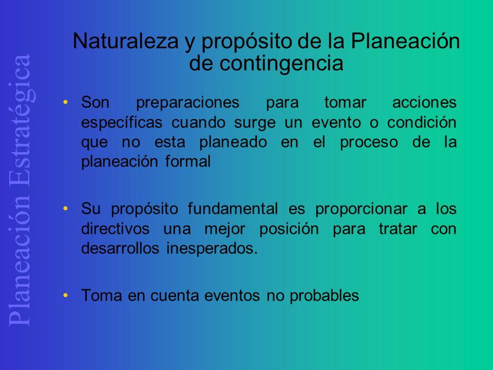 Naturaleza y propósito de la Planeación de contingencia