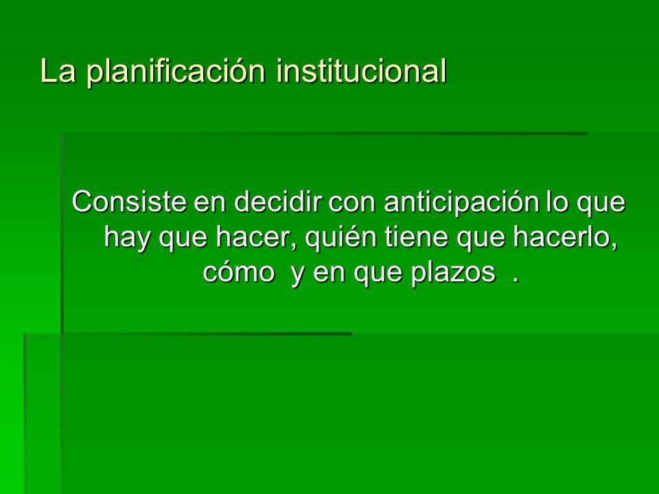 La planificación institucional