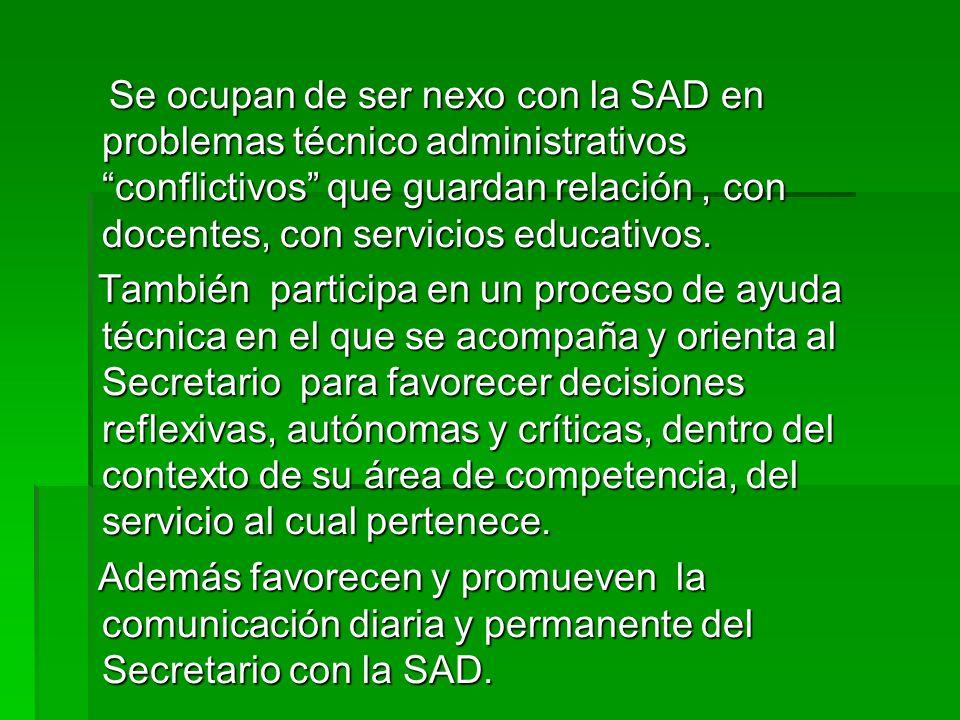 Se ocupan de ser nexo con la SAD en problemas técnico administrativos conflictivos que guardan relación , con docentes, con servicios educativos.