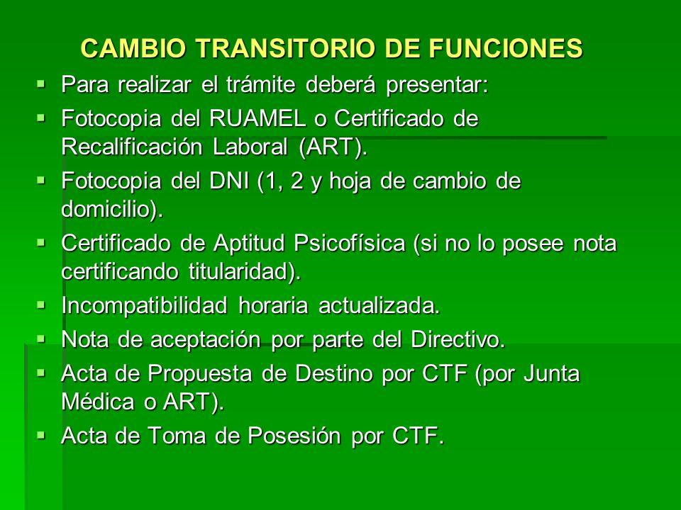 CAMBIO TRANSITORIO DE FUNCIONES