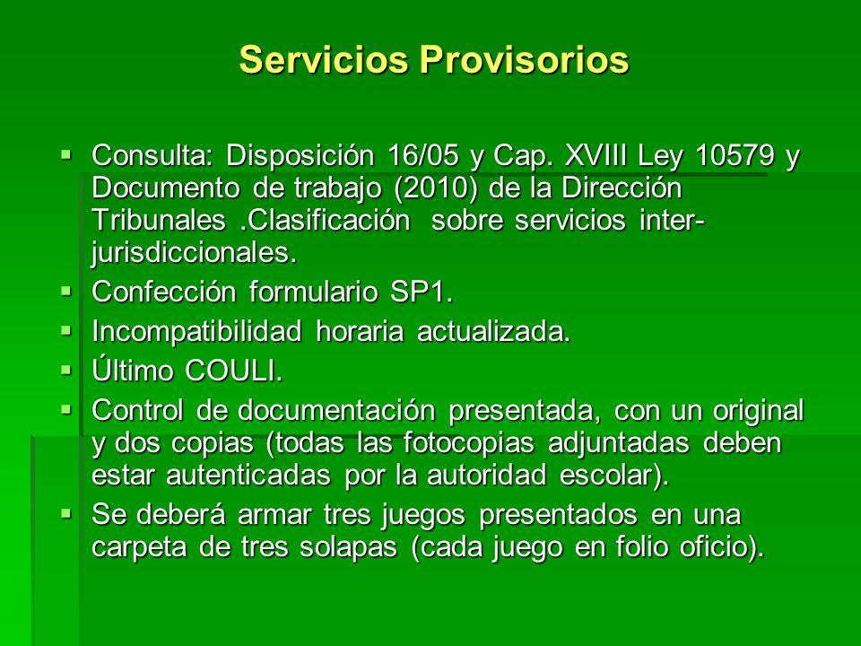 Servicios Provisorios