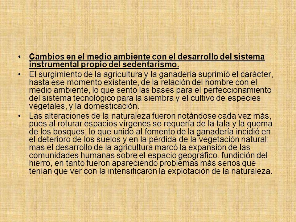 Cambios en el medio ambiente con el desarrollo del sistema instrumental propio del sedentarismo.