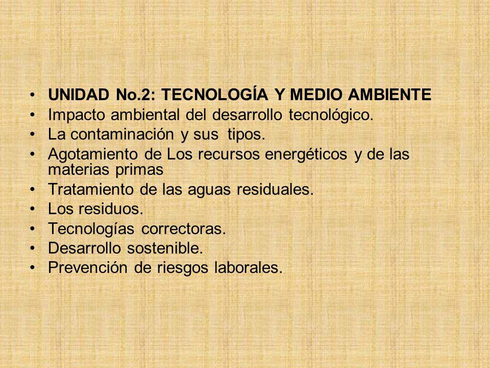 UNIDAD No.2: TECNOLOGÍA Y MEDIO AMBIENTE