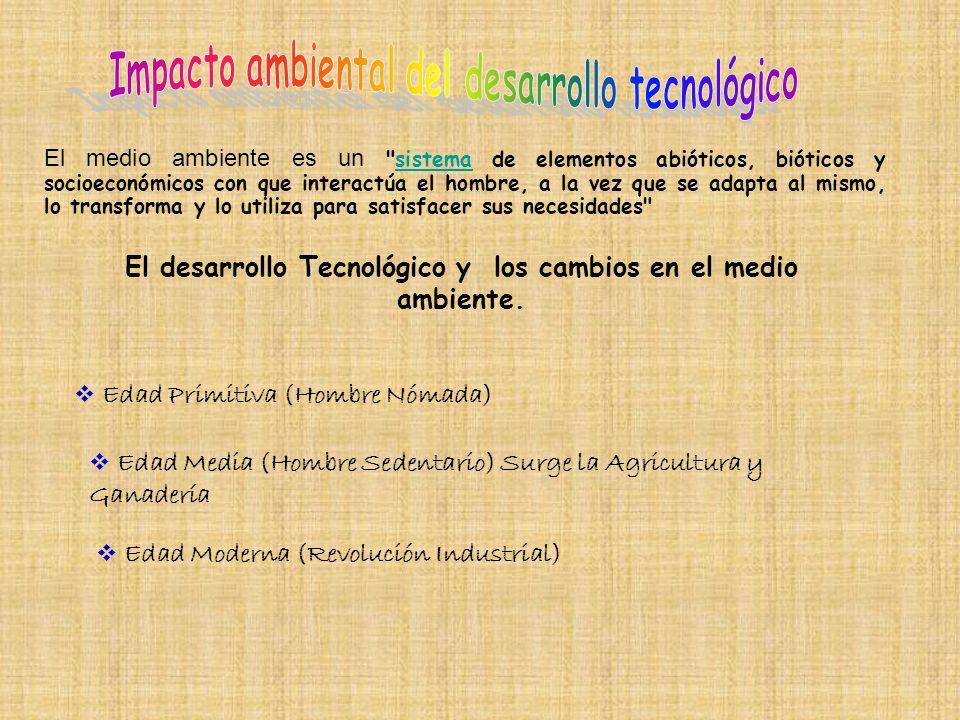 El desarrollo Tecnológico y los cambios en el medio ambiente.