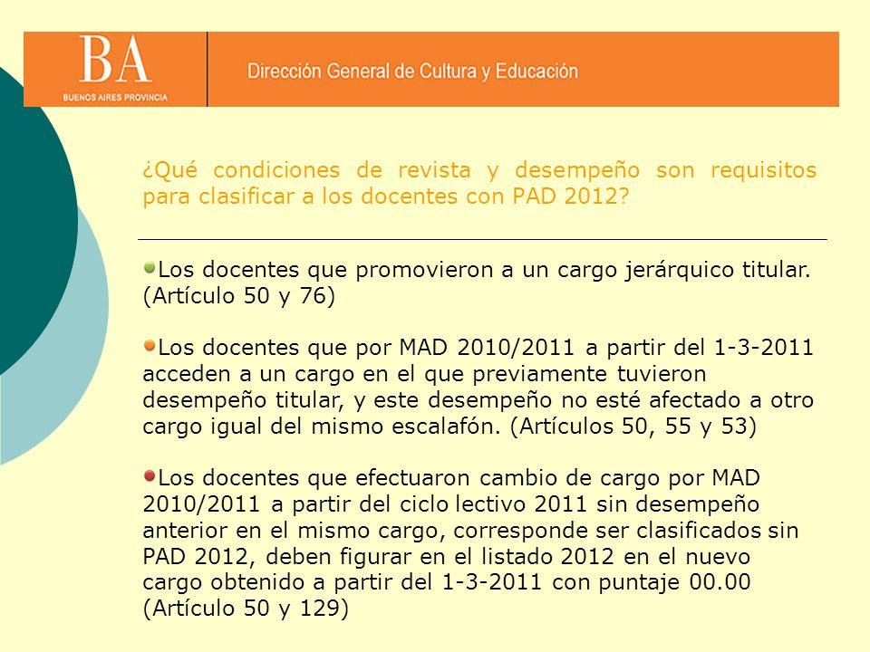 ¿Qué condiciones de revista y desempeño son requisitos para clasificar a los docentes con PAD 2012