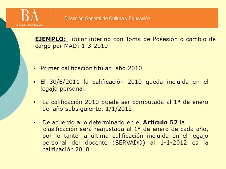 EJEMPLO: Titular interino con Toma de Posesión o cambio de cargo por MAD: 1-3-2010