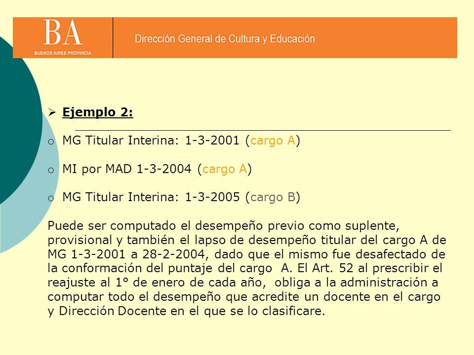 Ejemplo 2: MG Titular Interina: 1-3-2001 (cargo A) MI por MAD 1-3-2004 (cargo A) MG Titular Interina: 1-3-2005 (cargo B)