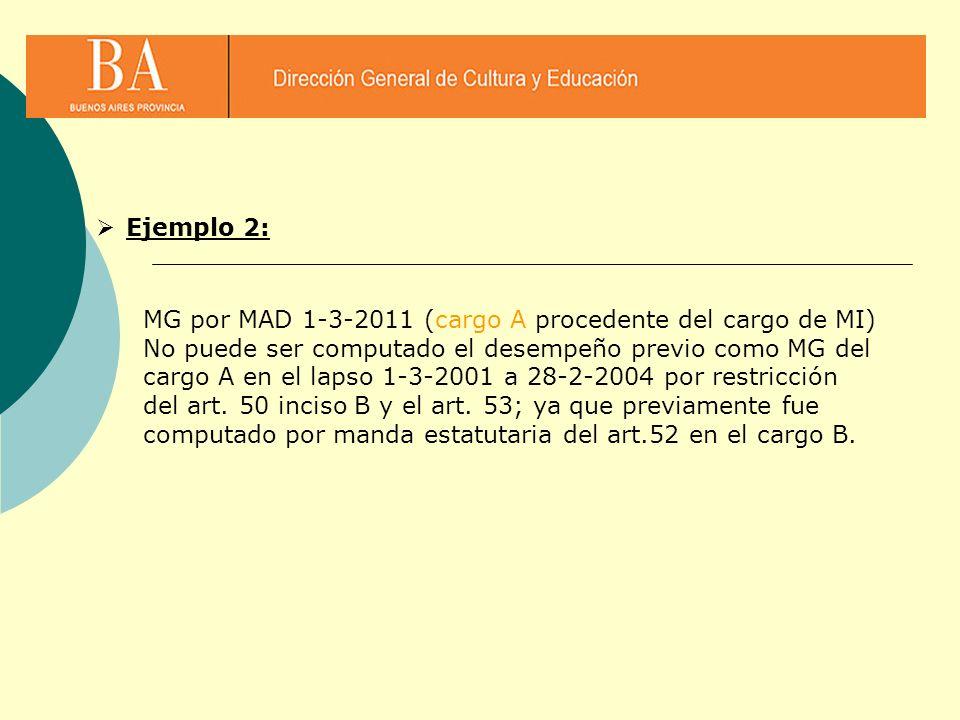 Ejemplo 2: MG por MAD 1-3-2011 (cargo A procedente del cargo de MI)