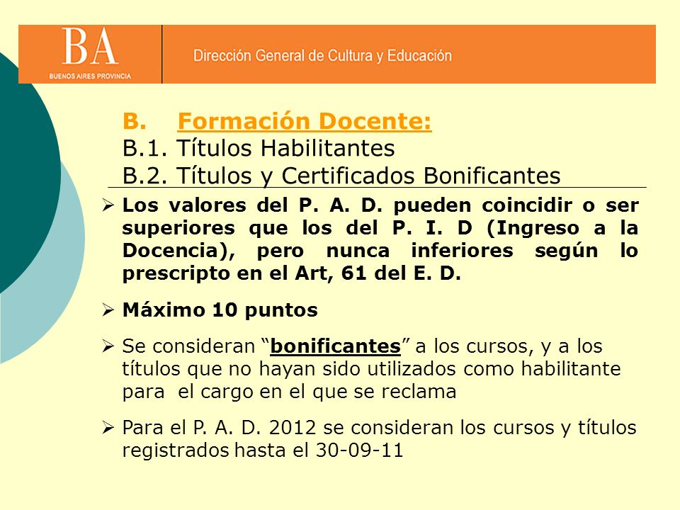 B.1. Títulos Habilitantes B.2. Títulos y Certificados Bonificantes
