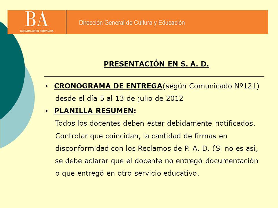 PRESENTACIÓN EN S. A. D. CRONOGRAMA DE ENTREGA(según Comunicado Nº121) desde el día 5 al 13 de julio de 2012.