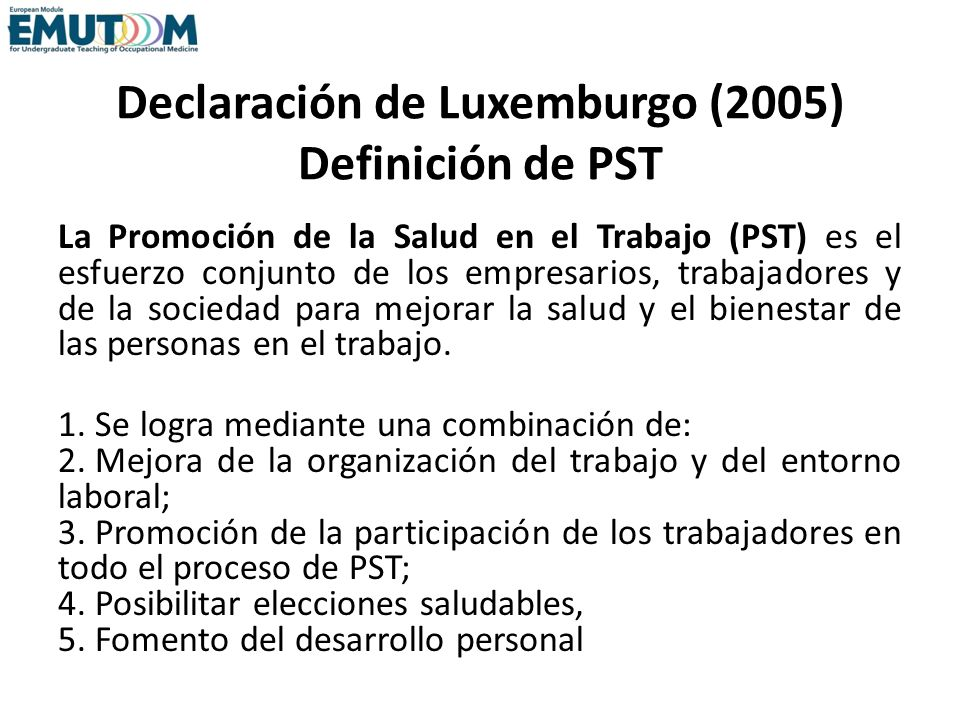 Declaración de Luxemburgo (2005) Definición de PST