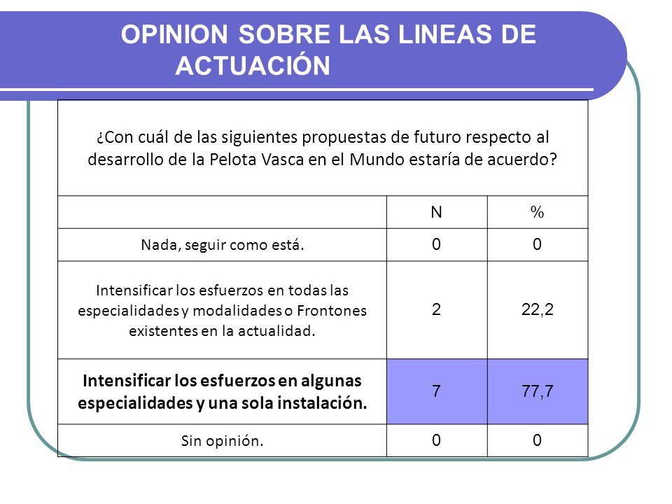 OPINION SOBRE LAS LINEAS DE ACTUACIÓN