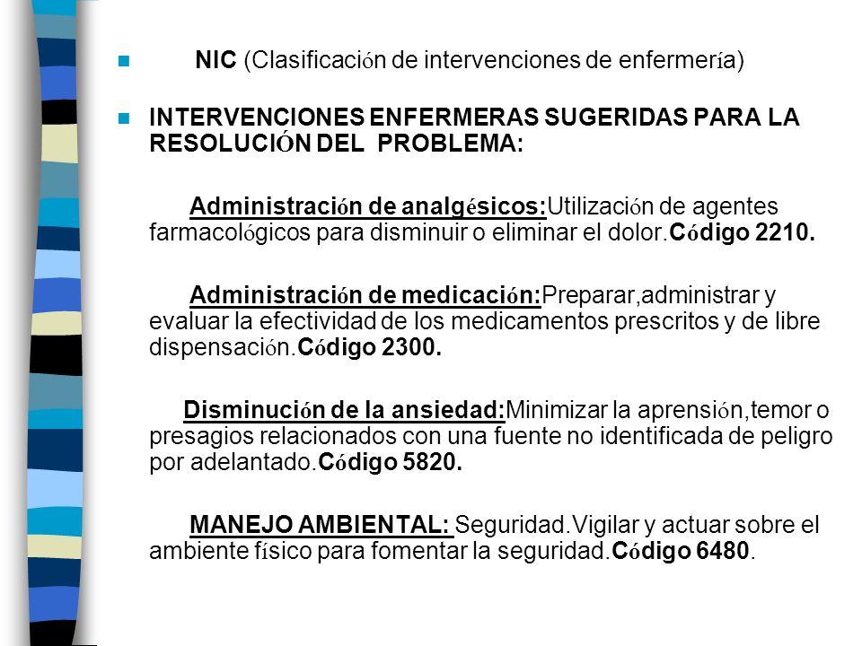 NIC (Clasificación de intervenciones de enfermería)