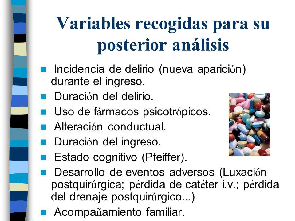 Variables recogidas para su posterior análisis