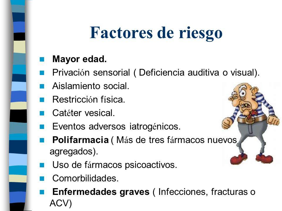 Factores de riesgo Mayor edad.