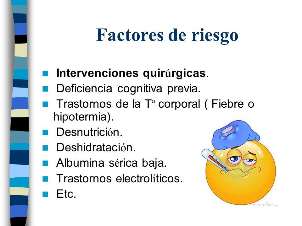 Factores de riesgo Intervenciones quirúrgicas.