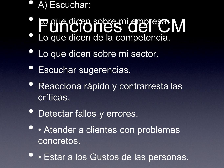 Funciones del CM A) Escuchar: Lo que dicen sobre mi empresa.