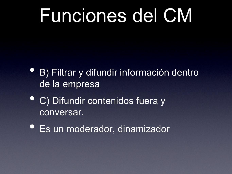 Funciones del CM B) Filtrar y difundir información dentro de la empresa. C) Difundir contenidos fuera y conversar.