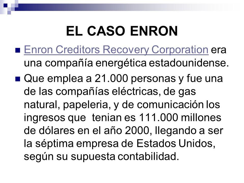 EL CASO ENRON Enron Creditors Recovery Corporation era una compañía energética estadounidense.