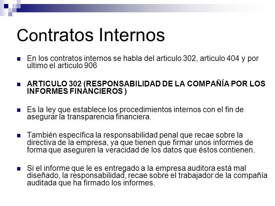 Contratos Internos En los contratos internos se habla del articulo 302, articulo 404 y por ultimo el articulo 906.