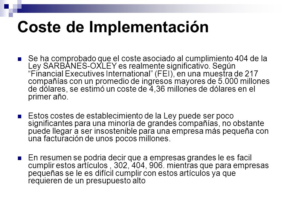 Coste de Implementación