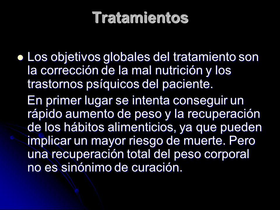 Tratamientos Los objetivos globales del tratamiento son la corrección de la mal nutrición y los trastornos psíquicos del paciente.