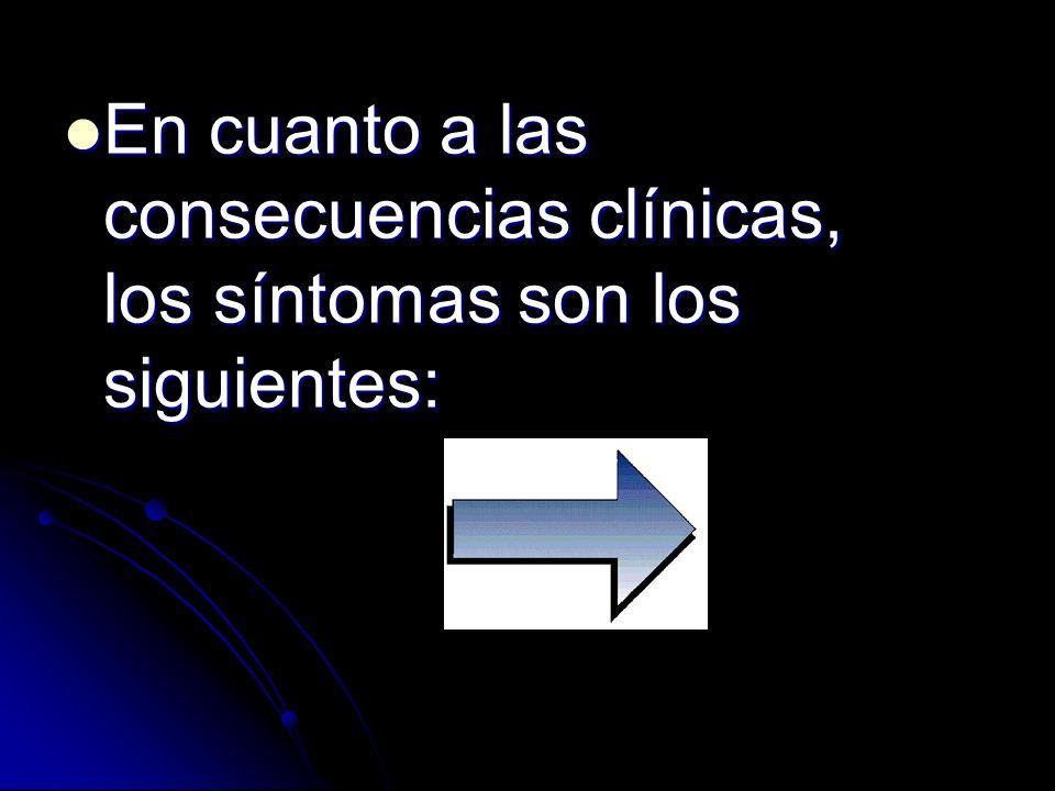 En cuanto a las consecuencias clínicas, los síntomas son los siguientes: