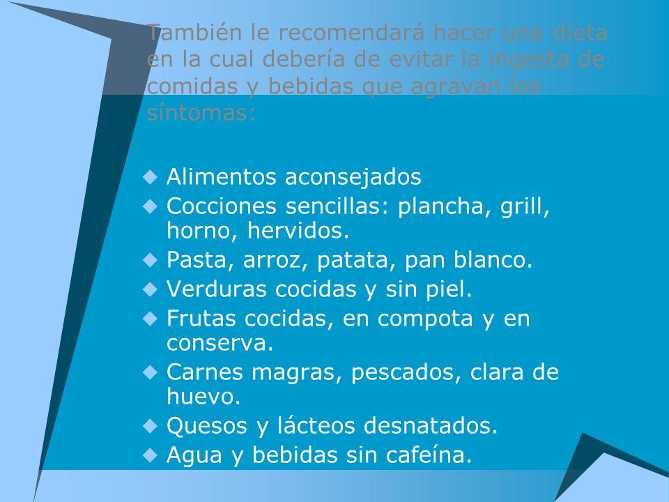 También le recomendará hacer una dieta en la cual debería de evitar la ingesta de comidas y bebidas que agravan los síntomas: