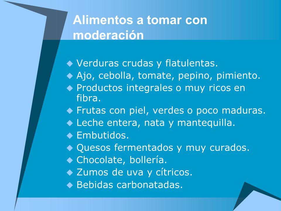 Alimentos a tomar con moderación