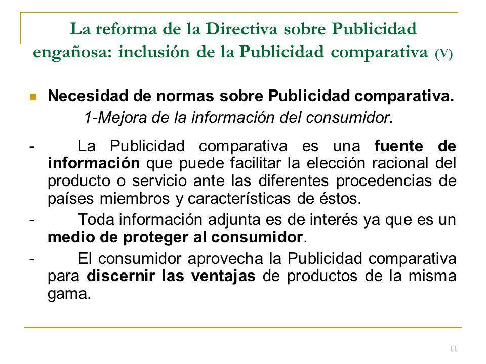 La reforma de la Directiva sobre Publicidad engañosa: inclusión de la Publicidad comparativa (V)