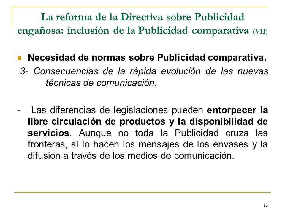 La reforma de la Directiva sobre Publicidad engañosa: inclusión de la Publicidad comparativa (VII)