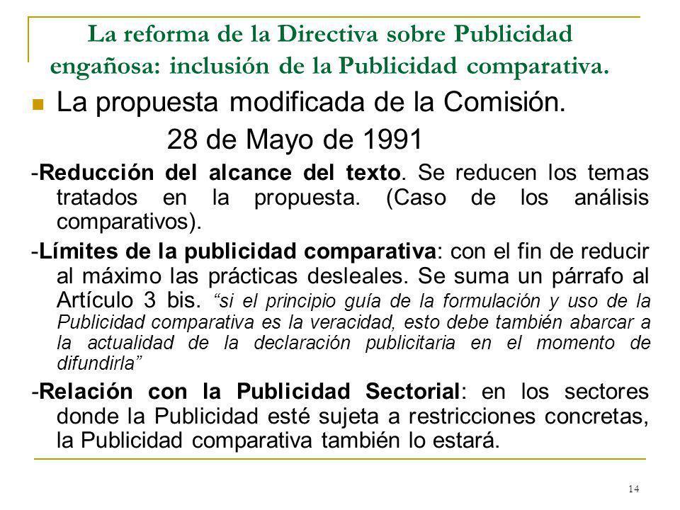 La propuesta modificada de la Comisión. 28 de Mayo de 1991