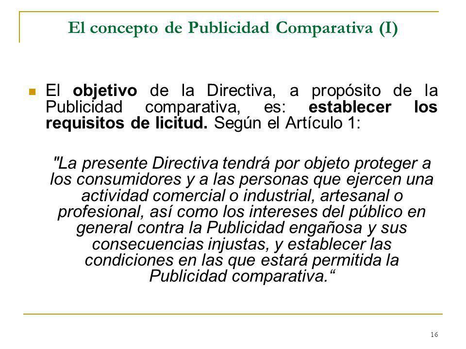 El concepto de Publicidad Comparativa (I)