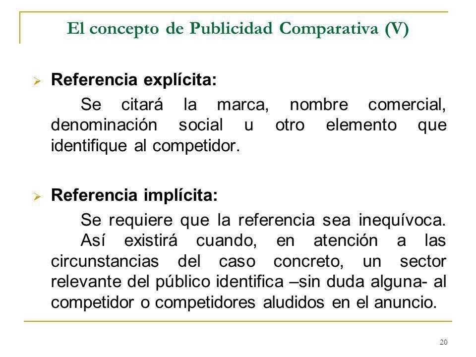 El concepto de Publicidad Comparativa (V)