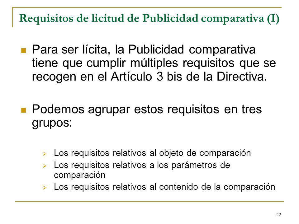 Requisitos de licitud de Publicidad comparativa (I)