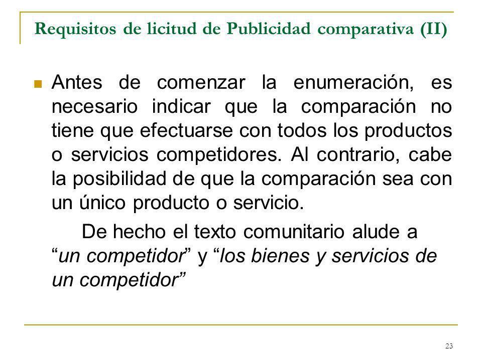 Requisitos de licitud de Publicidad comparativa (II)