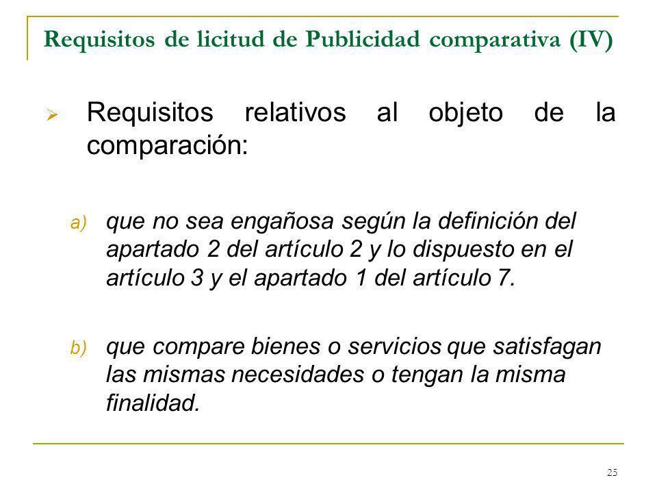 Requisitos de licitud de Publicidad comparativa (IV)