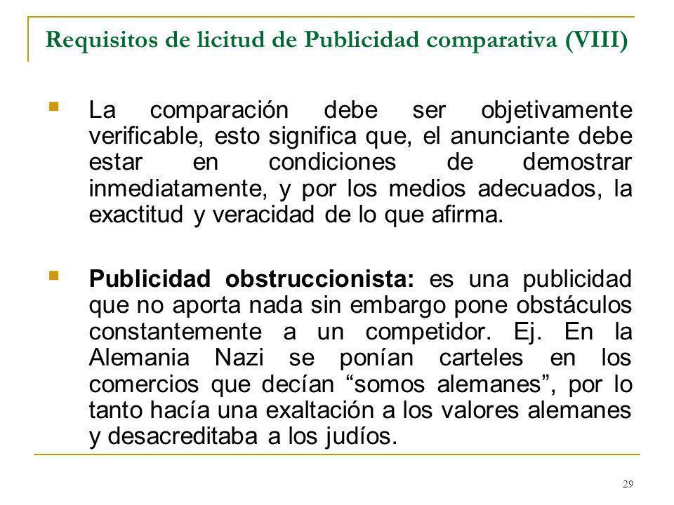 Requisitos de licitud de Publicidad comparativa (VIII)