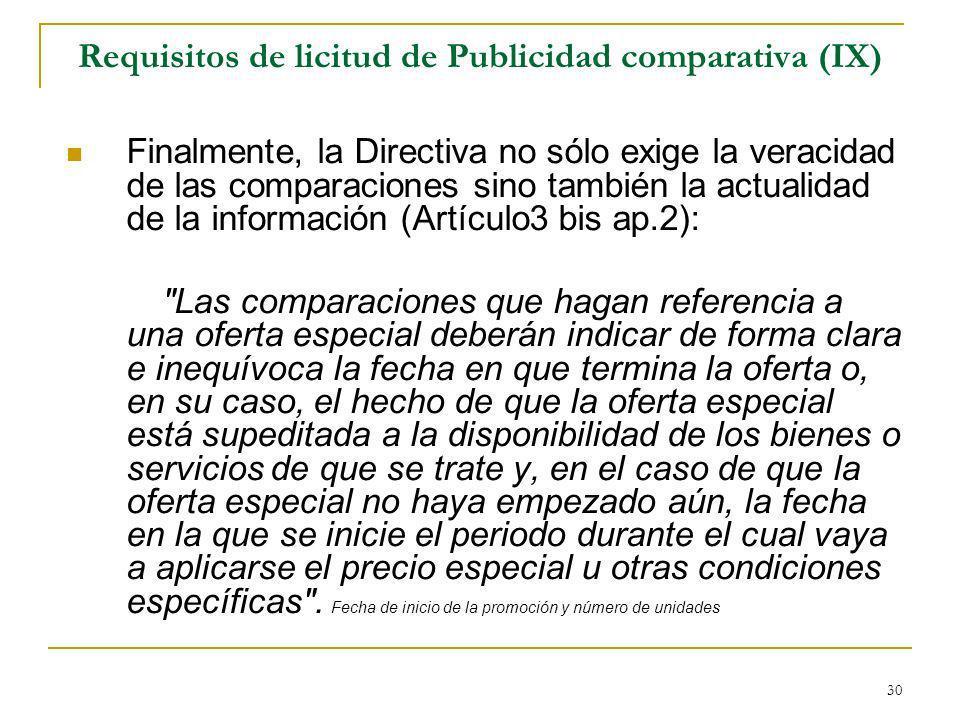 Requisitos de licitud de Publicidad comparativa (IX)