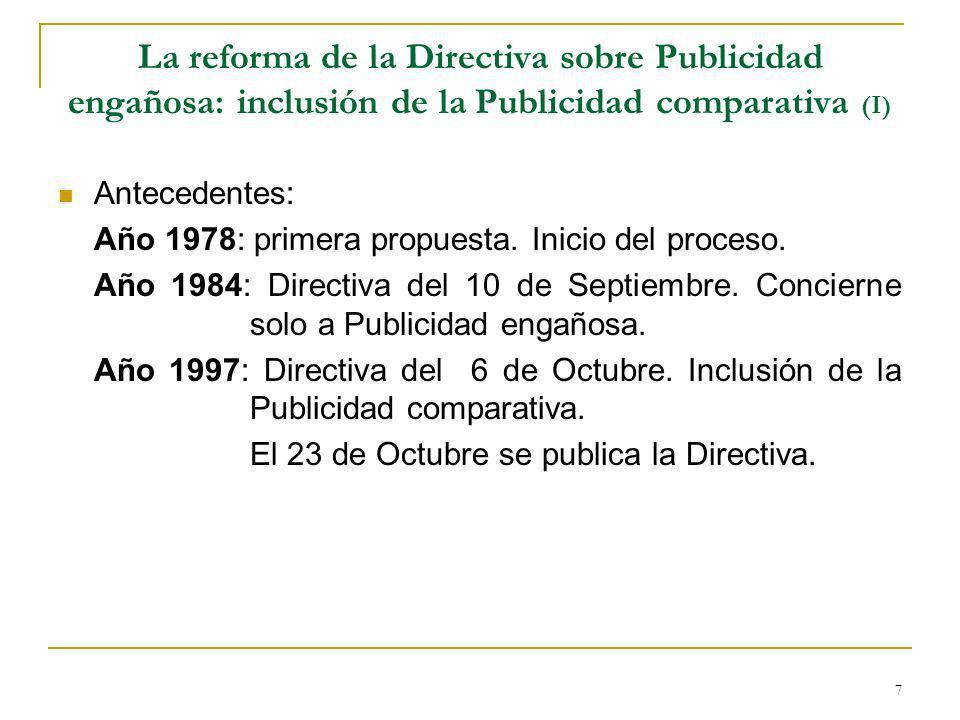 La reforma de la Directiva sobre Publicidad engañosa: inclusión de la Publicidad comparativa (I)