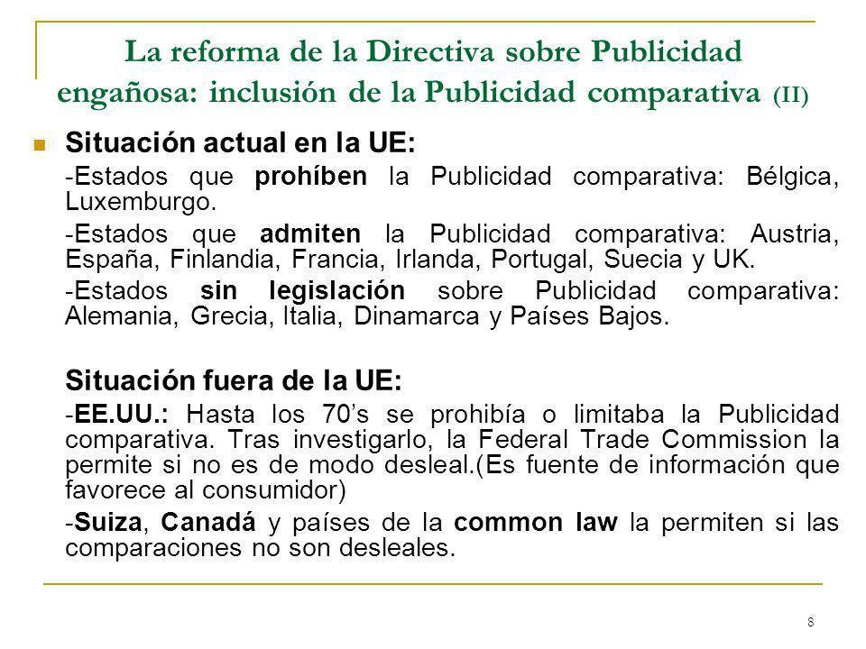 La reforma de la Directiva sobre Publicidad engañosa: inclusión de la Publicidad comparativa (II)