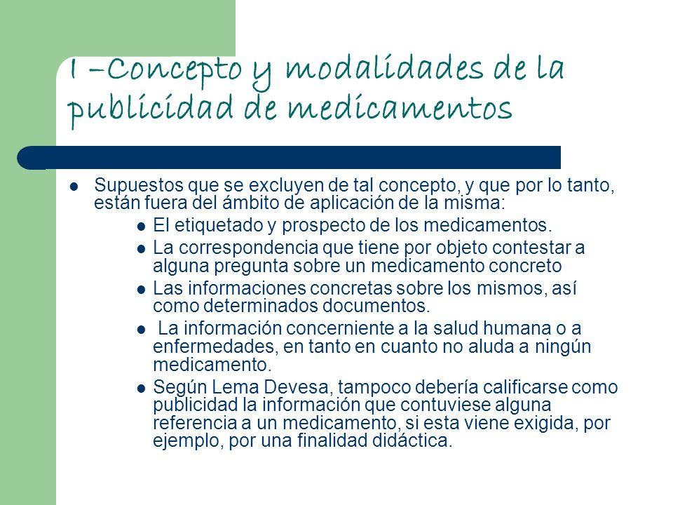 I –Concepto y modalidades de la publicidad de medicamentos