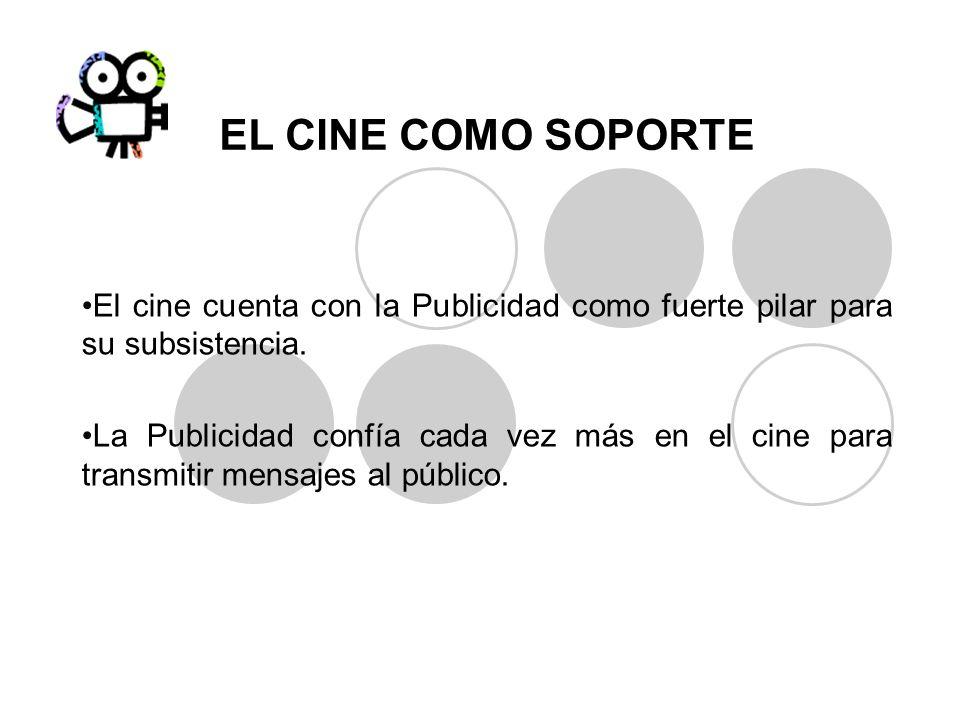 EL CINE COMO SOPORTEEl cine cuenta con la Publicidad como fuerte pilar para su subsistencia.