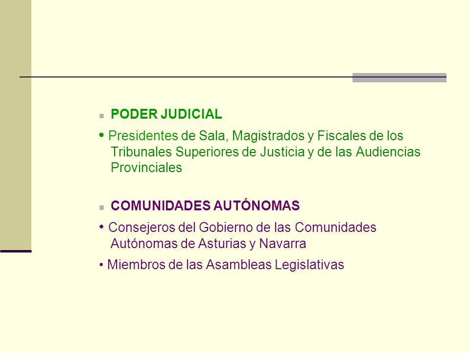 PODER JUDICIAL • Presidentes de Sala, Magistrados y Fiscales de los Tribunales Superiores de Justicia y de las Audiencias Provinciales.